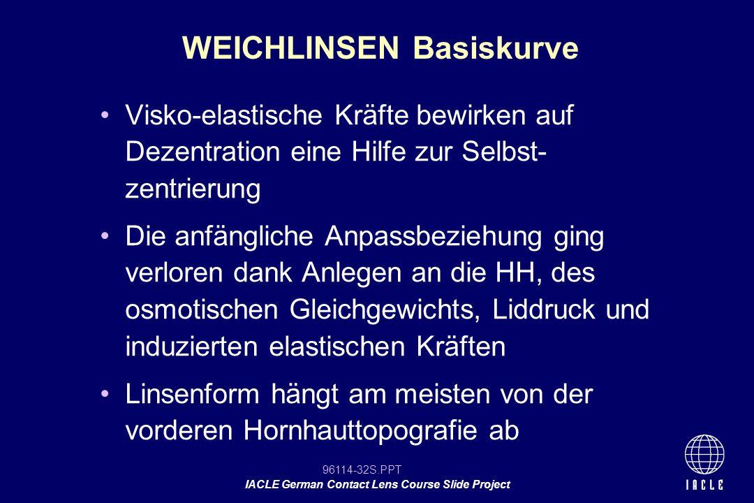 96114-32S.PPT IACLE German Contact Lens Course Slide Project Visko-elastische Kräfte bewirken auf Dezentration eine Hilfe zur Selbst- zentrierung Die