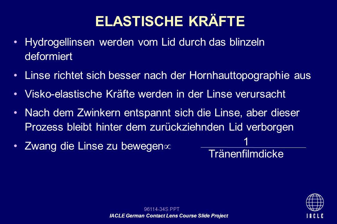 96114-34S.PPT IACLE German Contact Lens Course Slide Project Hydrogellinsen werden vom Lid durch das blinzeln deformiert Linse richtet sich besser nac