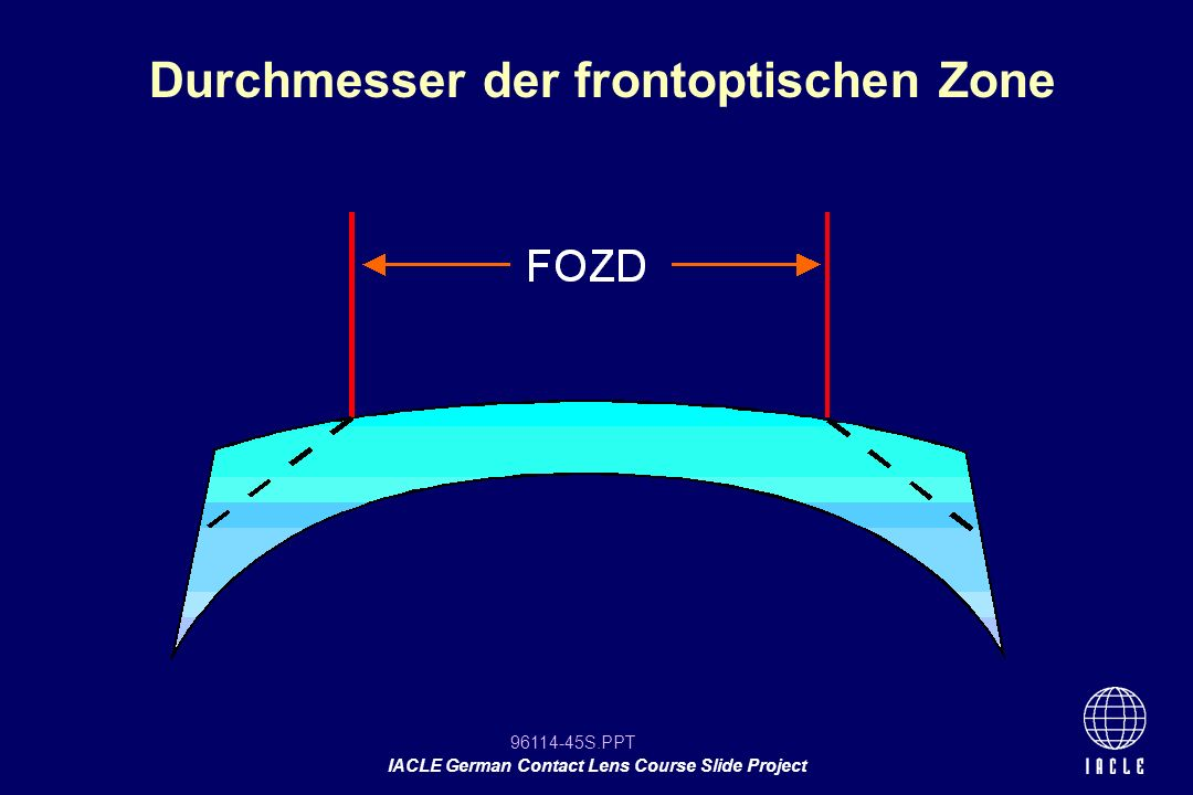 96114-45S.PPT IACLE German Contact Lens Course Slide Project Durchmesser der frontoptischen Zone