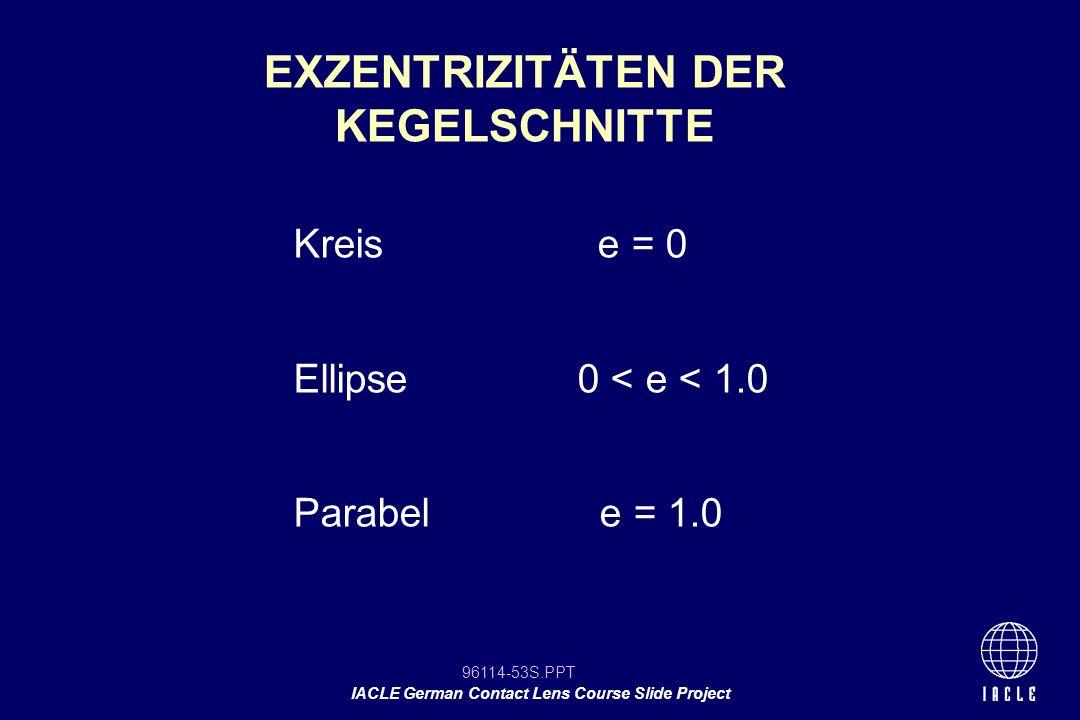 96114-53S.PPT IACLE German Contact Lens Course Slide Project Kreis e = 0 Ellipse0 < e < 1.0 Parabel e = 1.0 EXZENTRIZITÄTEN DER KEGELSCHNITTE