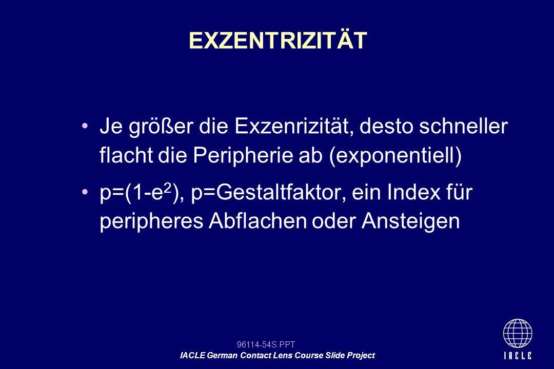 96114-54S.PPT IACLE German Contact Lens Course Slide Project Je größer die Exzenrizität, desto schneller flacht die Peripherie ab (exponentiell) p=(1-
