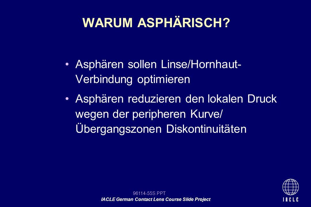 96114-55S.PPT IACLE German Contact Lens Course Slide Project Asphären sollen Linse/Hornhaut- Verbindung optimieren Asphären reduzieren den lokalen Dru
