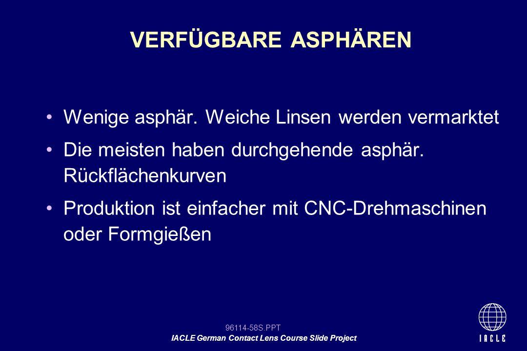 96114-58S.PPT IACLE German Contact Lens Course Slide Project Wenige asphär. Weiche Linsen werden vermarktet Die meisten haben durchgehende asphär. Rüc