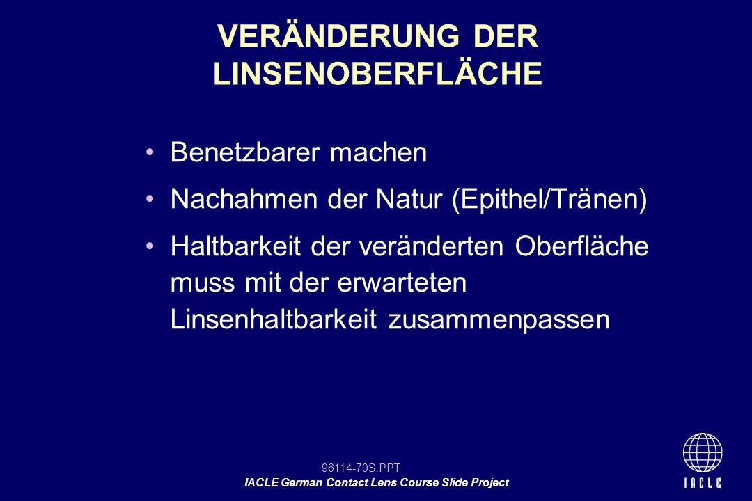 96114-70S.PPT IACLE German Contact Lens Course Slide Project Benetzbarer machen Nachahmen der Natur (Epithel/Tränen) Haltbarkeit der veränderten Oberf
