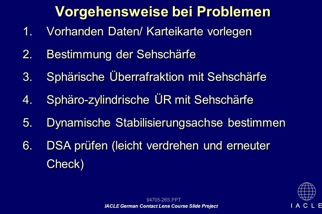 94705-26S.PPT IACLE German Contact Lens Course Slide Project I A C L E Vorgehensweise bei Problemen 1.Vorhanden Daten/ Karteikarte vorlegen 2.Bestimmu
