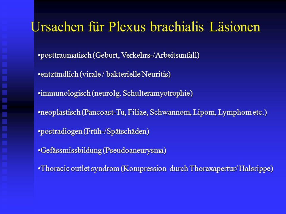 posttraumatisch (Geburt, Verkehrs-/Arbeitsunfall)posttraumatisch (Geburt, Verkehrs-/Arbeitsunfall) entzündlich (virale / bakterielle Neuritis)entzündl