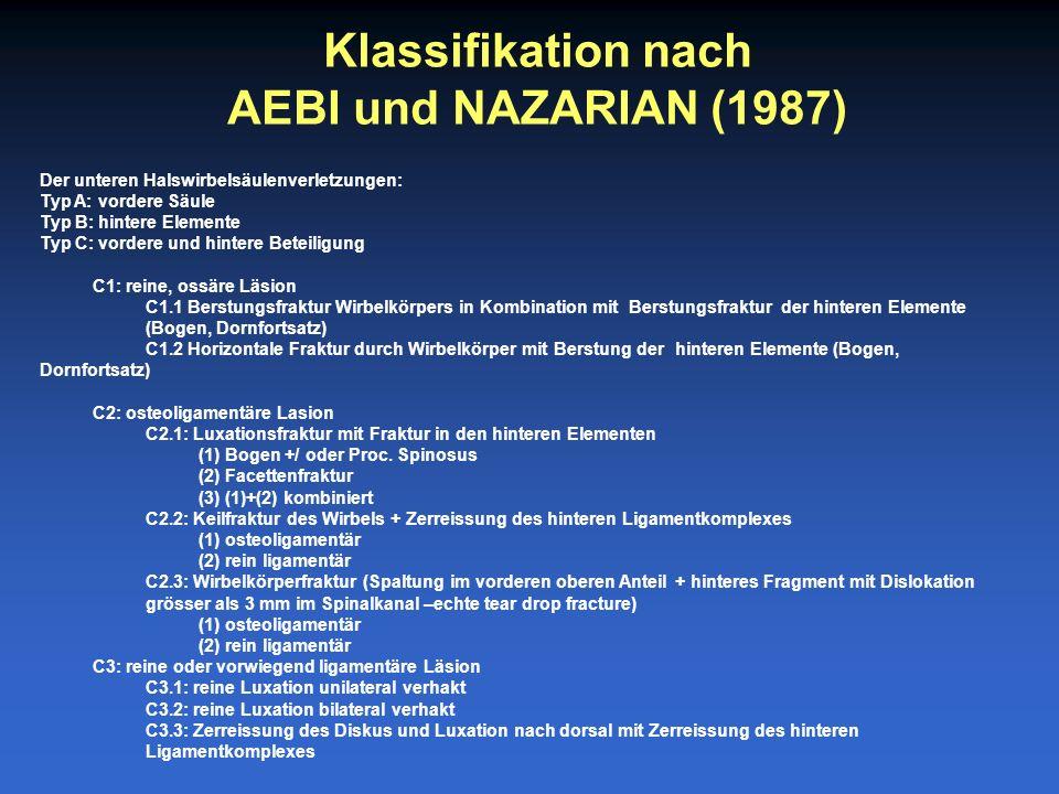 Klassifikation nach AEBI und NAZARIAN (1987) Der unteren Halswirbelsäulenverletzungen: Typ A: vordere Säule Typ B: hintere Elemente Typ C: vordere und