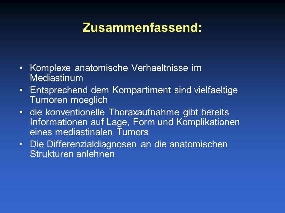 Komplexe anatomische Verhaeltnisse im Mediastinum Entsprechend dem Kompartiment sind vielfaeltige Tumoren moeglich die konventionelle Thoraxaufnahme g