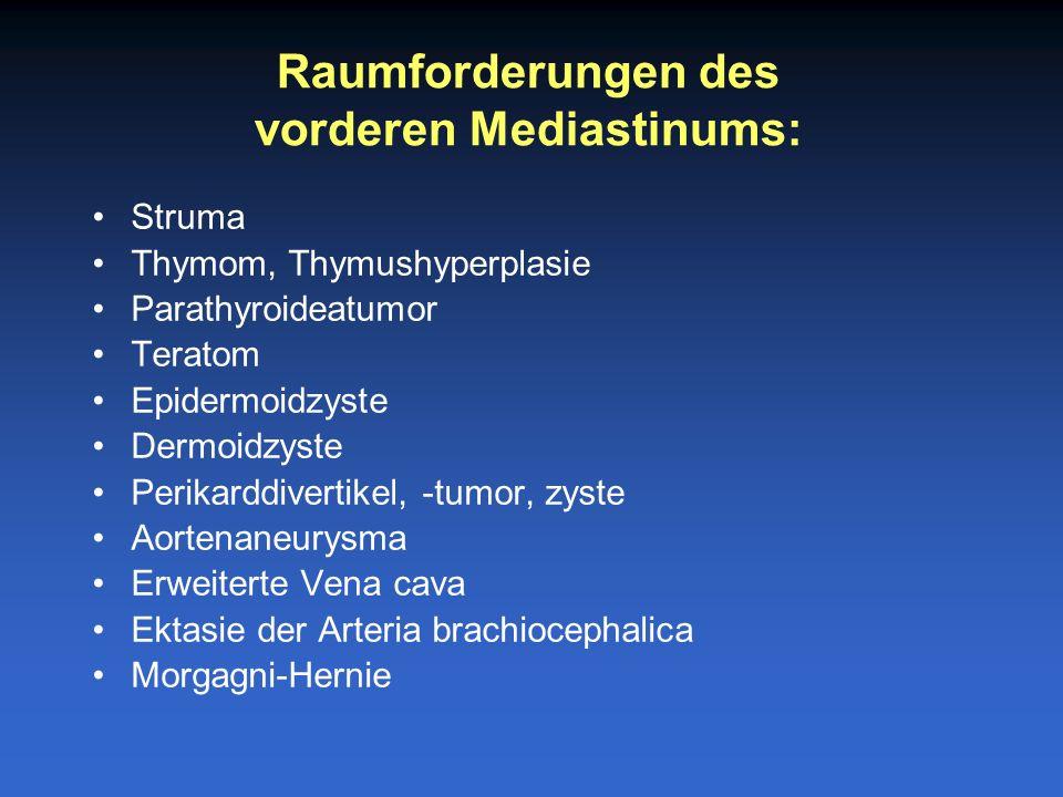 Struma Thymom, Thymushyperplasie Parathyroideatumor Teratom Epidermoidzyste Dermoidzyste Perikarddivertikel, -tumor, zyste Aortenaneurysma Erweiterte