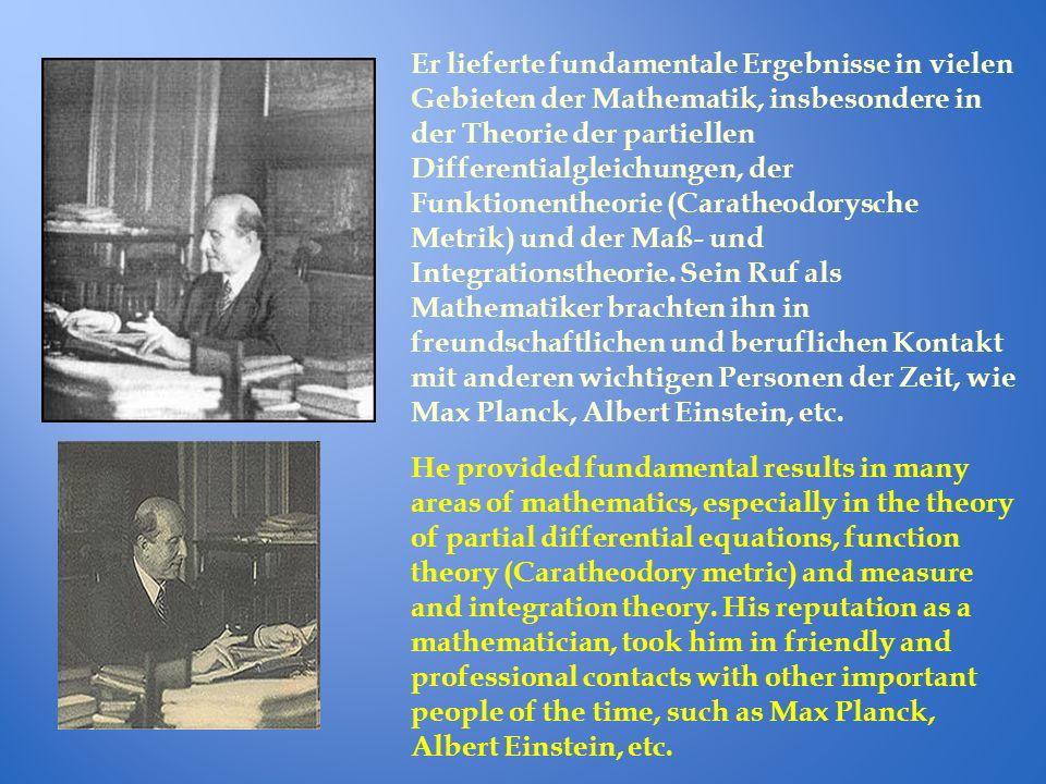 Er lieferte fundamentale Ergebnisse in vielen Gebieten der Mathematik, insbesondere in der Theorie der partiellen Differentialgleichungen, der Funktio