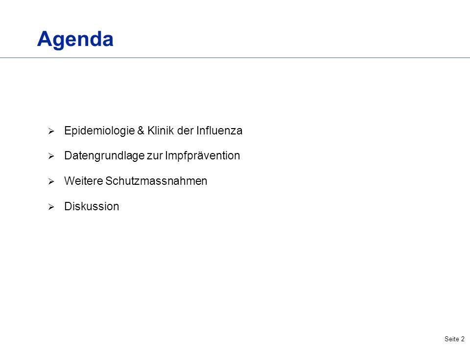 Seite 2 Agenda Epidemiologie & Klinik der Influenza Datengrundlage zur Impfprävention Weitere Schutzmassnahmen Diskussion