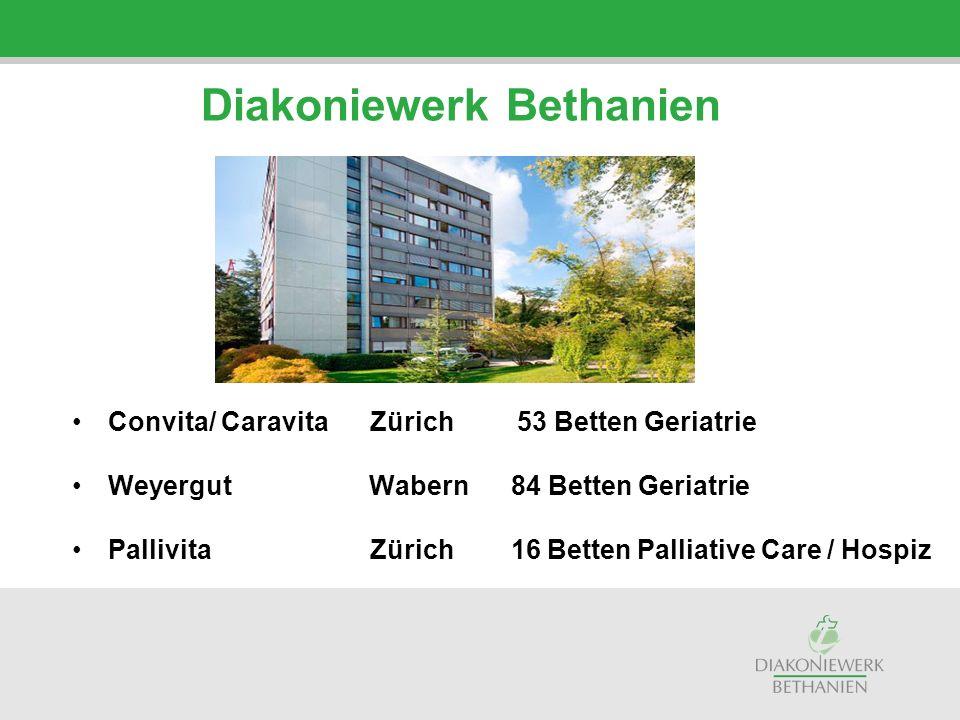 Convita/ Caravita Zürich 53 Betten Geriatrie Weyergut Wabern 84 Betten Geriatrie Pallivita Zürich 16 Betten Palliative Care / Hospiz Diakoniewerk Beth