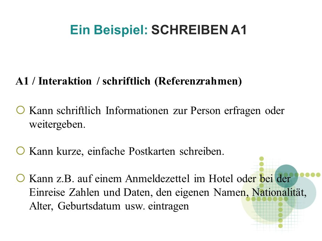 Ein Beispiel: SCHREIBEN A1 A1 / Interaktion / schriftlich (Referenzrahmen) Kann schriftlich Informationen zur Person erfragen oder weitergeben.