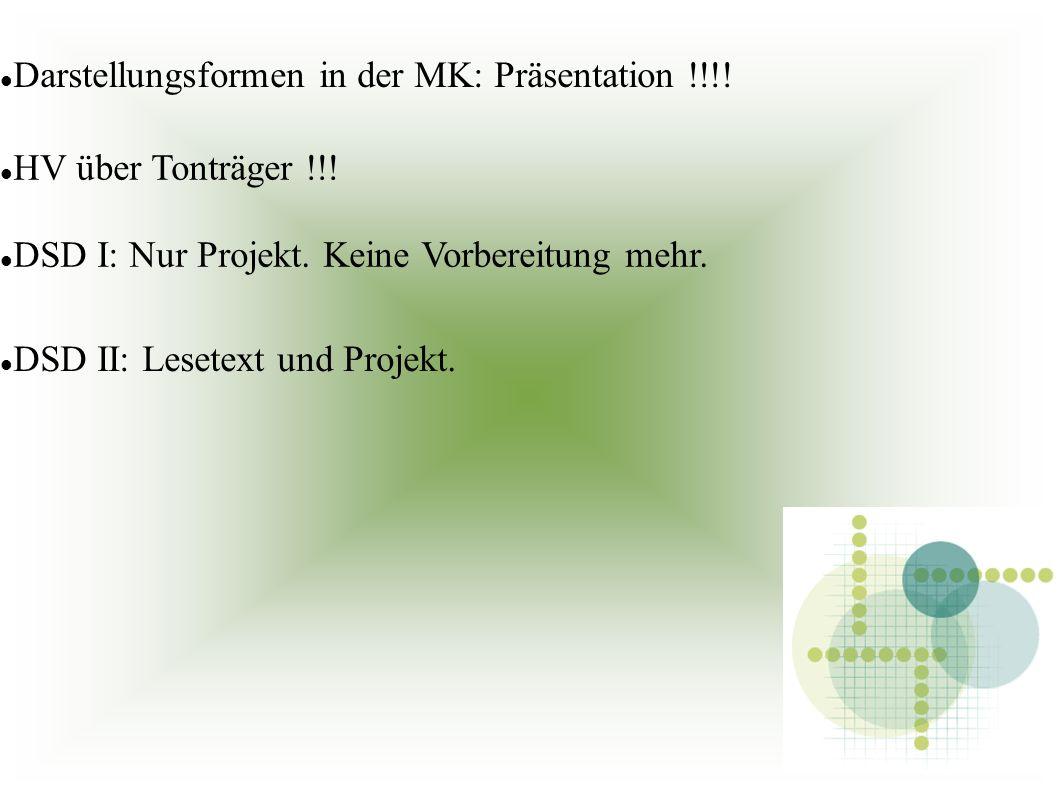 Darstellungsformen in der MK: Präsentation !!!. HV über Tonträger !!.