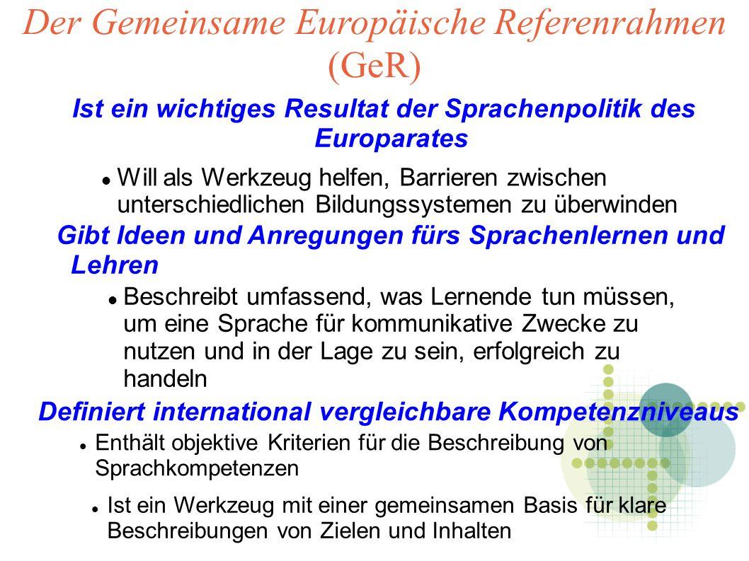 Der Gemeinsame Europäische Referenrahmen (GeR) Ist ein wichtiges Resultat der Sprachenpolitik des Europarates Will als Werkzeug helfen, Barrieren zwischen unterschiedlichen Bildungssystemen zu überwinden Gibt Ideen und Anregungen fürs Sprachenlernen und Lehren Beschreibt umfassend, was Lernende tun müssen, um eine Sprache für kommunikative Zwecke zu nutzen und in der Lage zu sein, erfolgreich zu handeln Definiert international vergleichbare Kompetenzniveaus Enthält objektive Kriterien für die Beschreibung von Sprachkompetenzen Ist ein Werkzeug mit einer gemeinsamen Basis für klare Beschreibungen von Zielen und Inhalten