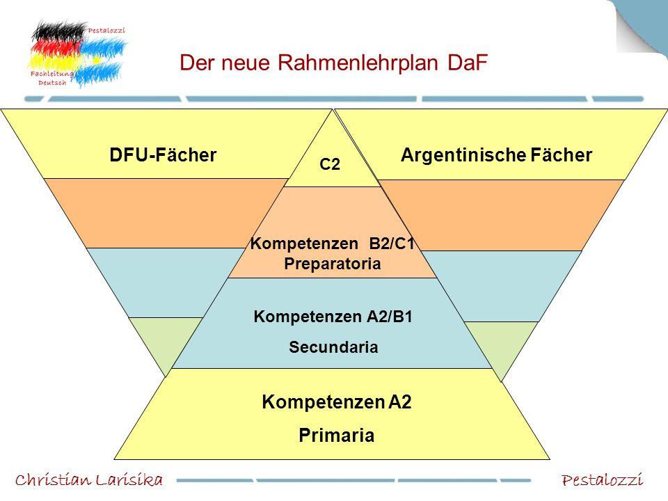 Der neue Rahmenlehrplan DaF PestalozziChristian Larisika Kompetenzen A2 Primaria Kompetenzen A2/B1 Secundaria Kompetenzen B2/C1 Preparatoria DFU-Fäche