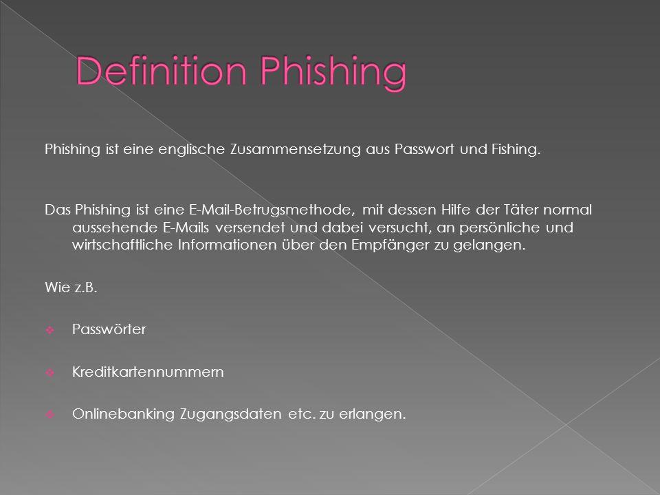 Phishing ist eine englische Zusammensetzung aus Passwort und Fishing.
