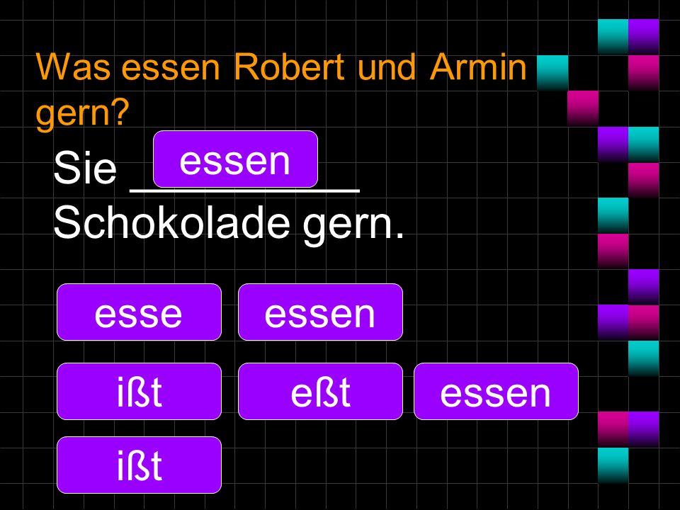 Was essen Robert und Armin gern? Sie _________ Schokolade gern. esse ißt essen eßt essen