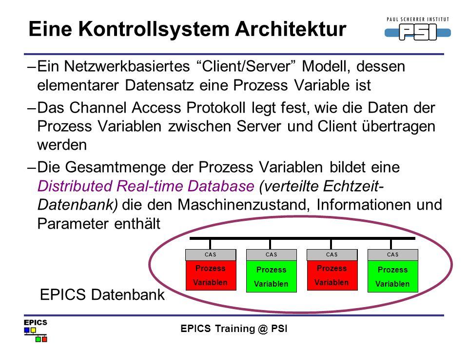 EPICS Training @ PSI Eine Kontrollsystem Architektur –Ein Netzwerkbasiertes Client/Server Modell, dessen elementarer Datensatz eine Prozess Variable i