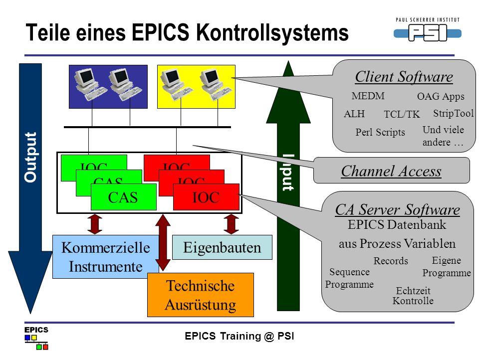 EPICS Training @ PSI Teile eines EPICS Kontrollsystems Kommerzielle Instrumente IOC CAS Eigenbauten Technische Ausrüstung Output Input Client Software