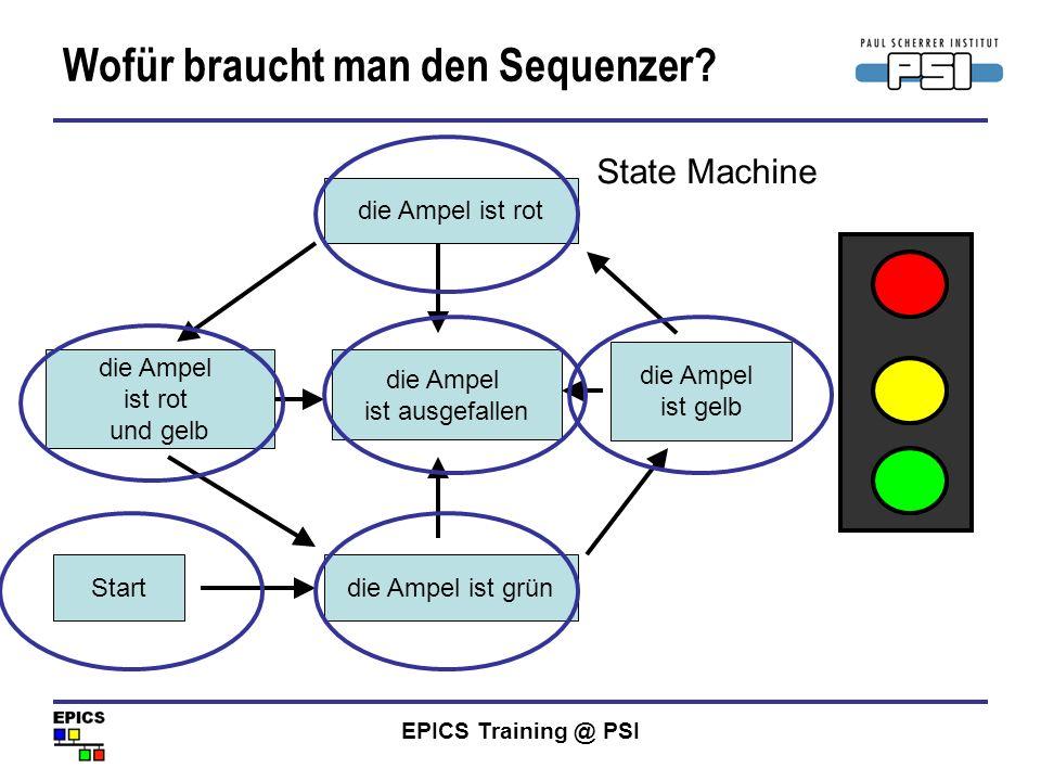 EPICS Training @ PSI Wofür braucht man den Sequenzer? die Ampel ist rot die Ampel ist grün die Ampel ist ausgefallen die Ampel ist rot und gelb die Am