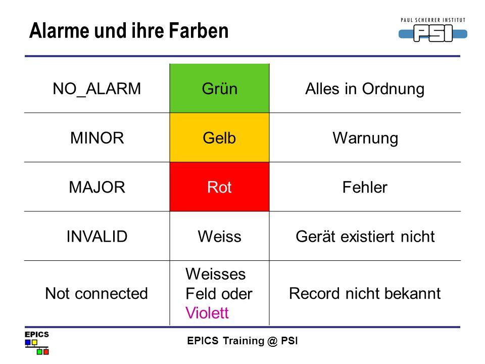 EPICS Training @ PSI Alarme und ihre Farben NO_ALARMGrünAlles in Ordnung MINORGelbWarnung MAJORRotFehler INVALIDWeissGerät existiert nicht Not connect