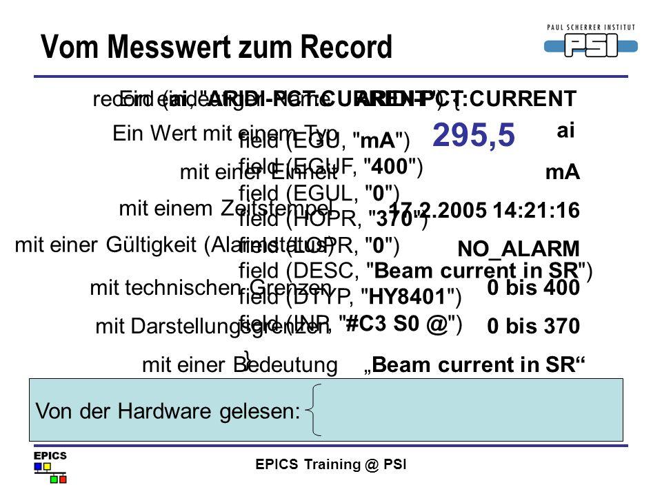 EPICS Training @ PSI Vom Messwert zum Record 295,5 mit einer Einheit mA 17.2.2005 14:21:16 NO_ALARM mit technischen Grenzen0 bis 400 mit Darstellungsg