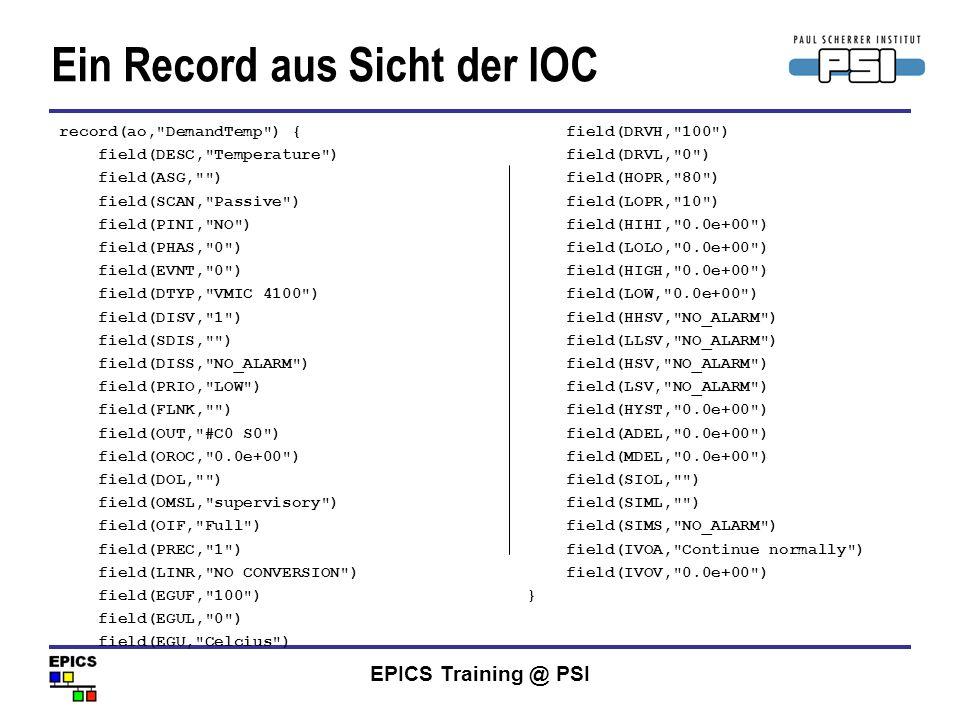 EPICS Training @ PSI Ein Record aus Sicht der IOC field(DRVH,