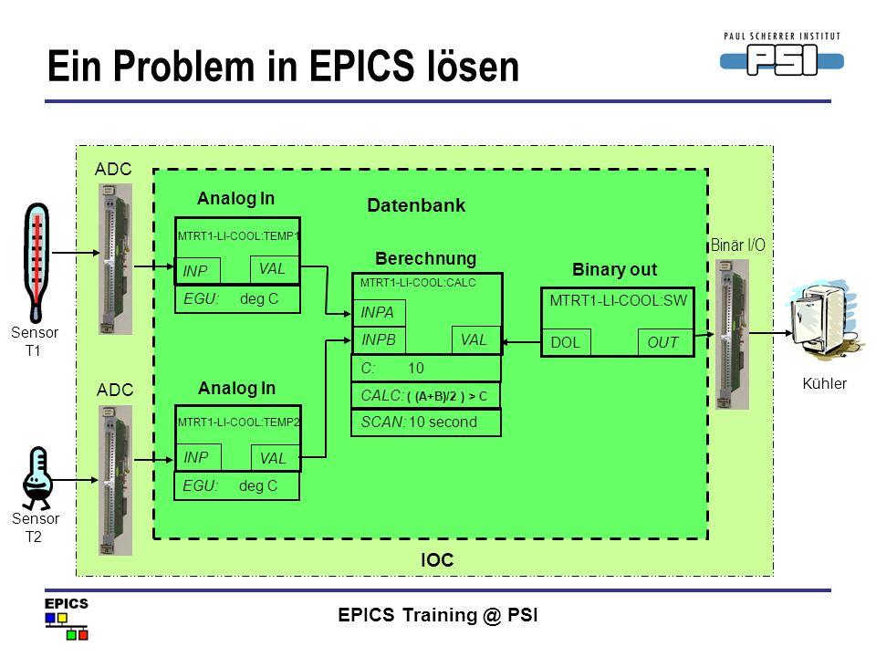 EPICS Training @ PSI Problem: Im Linac gibt es einen Wasserkühler, der eingeschaltet werden muss, wenn die durchschnittliche Temperatur der beiden Tem