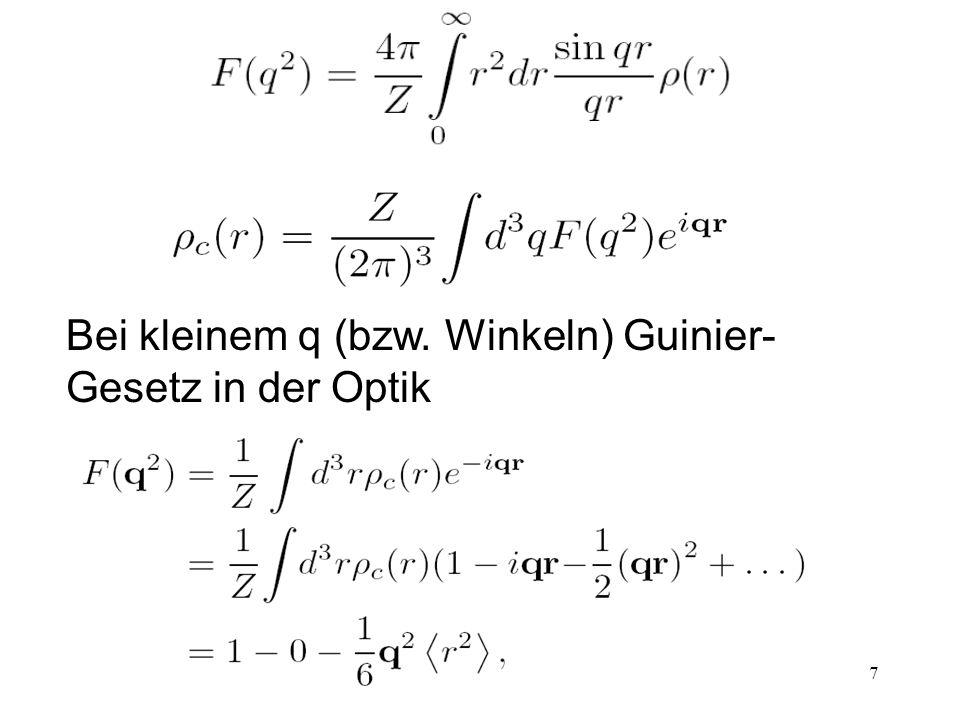 7 Bei kleinem q (bzw. Winkeln) Guinier- Gesetz in der Optik
