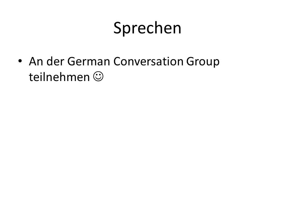 Sprechen An der German Conversation Group teilnehmen