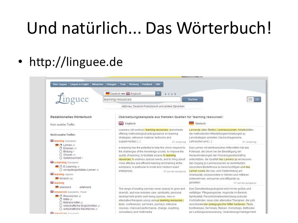 Und natürlich... Das Wörterbuch! http://linguee.de