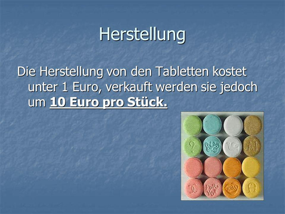 Herstellung Die Herstellung von den Tabletten kostet unter 1 Euro, verkauft werden sie jedoch um 10 Euro pro Stück.