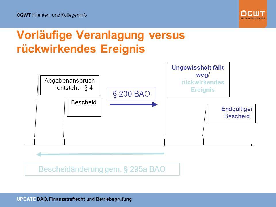 ÖGWT Klienten- und KollegenInfo UPDATE BAO, Finanzstrafrecht und Betriebsprüfung Vorläufige Veranlagung versus rückwirkendes Ereignis Bescheid Abgaben