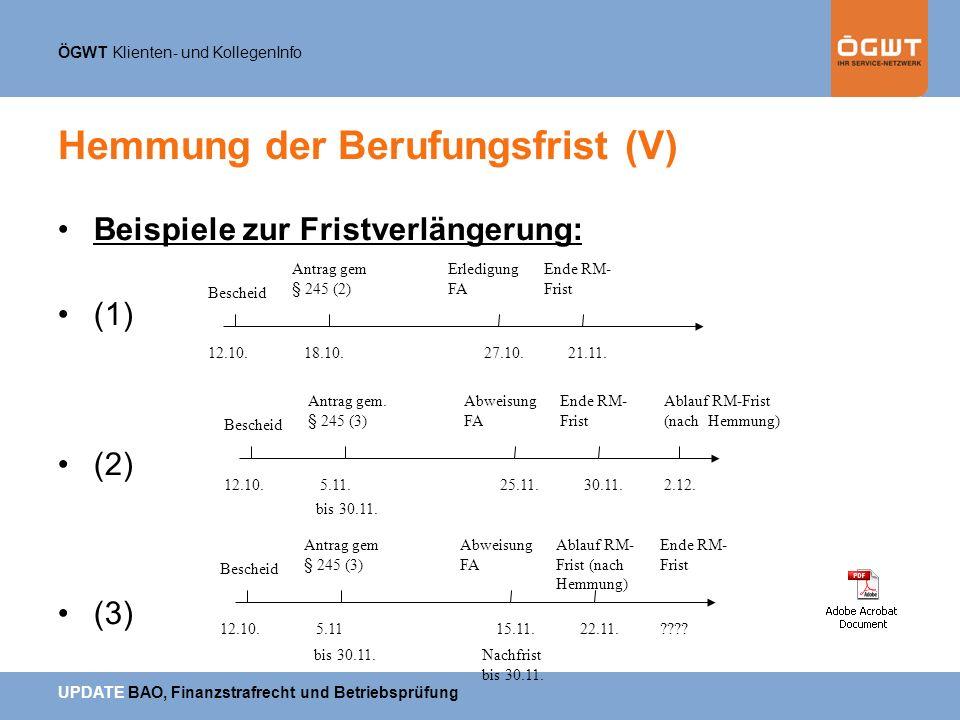 ÖGWT Klienten- und KollegenInfo UPDATE BAO, Finanzstrafrecht und Betriebsprüfung Hemmung der Berufungsfrist (V) Beispiele zur Fristverlängerung: (1) (