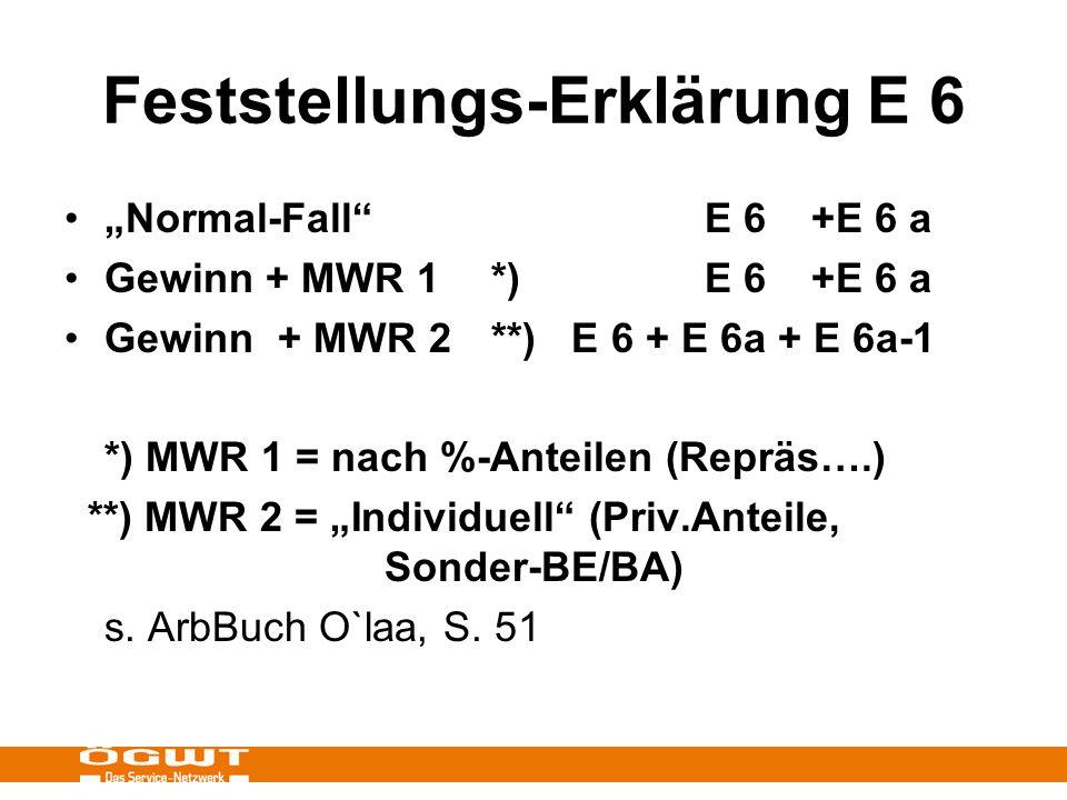 Feststellungs-Erklärung E 6 Normal-Fall E 6+E 6 a Gewinn + MWR 1 *)E 6+E 6 a Gewinn+ MWR 2**) E 6 + E 6a + E 6a-1 *) MWR 1 = nach %-Anteilen (Repräs….) **) MWR 2 = Individuell (Priv.Anteile, Sonder-BE/BA) s.