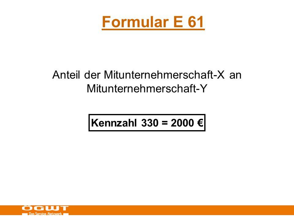 Formular E 61 Anteil der Mitunternehmerschaft-X an Mitunternehmerschaft-Y Kennzahl 330 = 2000