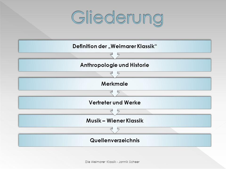 Quellenverzeichnis Musik – Wiener Klassik Vertreter und Werke Merkmale Anthropologie und Historie Definition der Weimarer Klassik Die Weimarer Klassik - Jannik Scheer