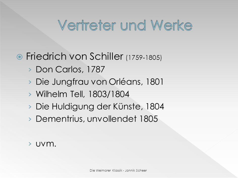 Friedrich von Schiller (1759-1805) Don Carlos, 1787 Die Jungfrau von Orléans, 1801 Wilhelm Tell, 1803/1804 Die Huldigung der Künste, 1804 Dementrius, unvollendet 1805 uvm.