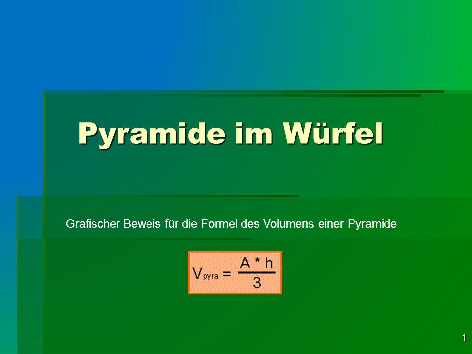 1 Pyramide im Würfel Grafischer Beweis für die Formel des Volumens einer Pyramide