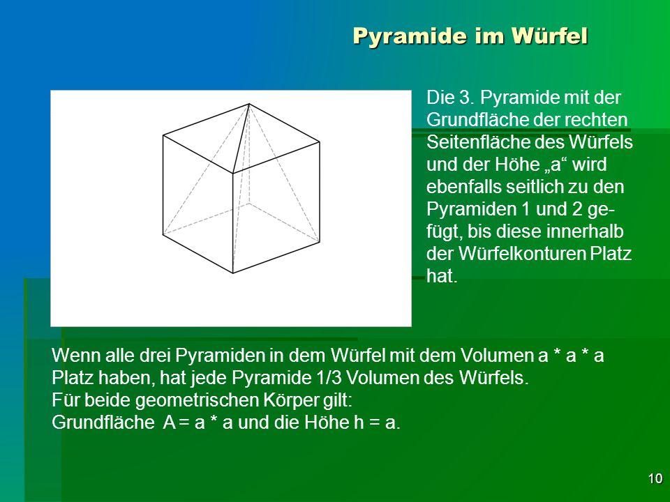 10 Pyramide im Würfel Die 3. Pyramide mit der Grundfläche der rechten Seitenfläche des Würfels und der Höhe a wird ebenfalls seitlich zu den Pyramiden