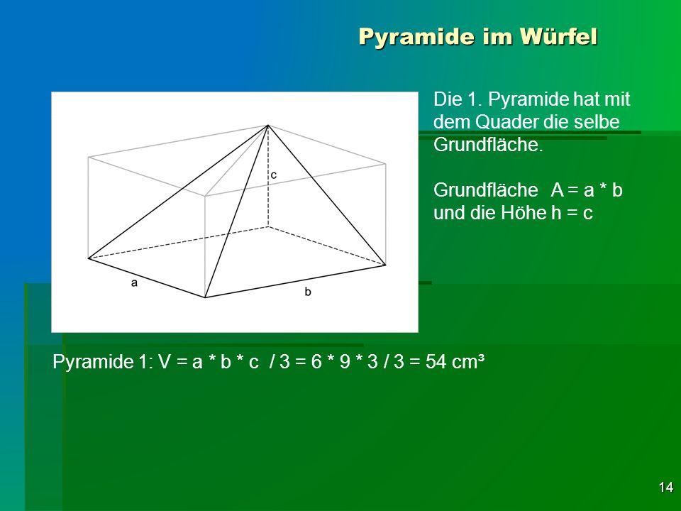 14 Pyramide im Würfel Die 1. Pyramide hat mit dem Quader die selbe Grundfläche. Grundfläche A = a * b und die Höhe h = c Pyramide 1: V = a * b * c / 3