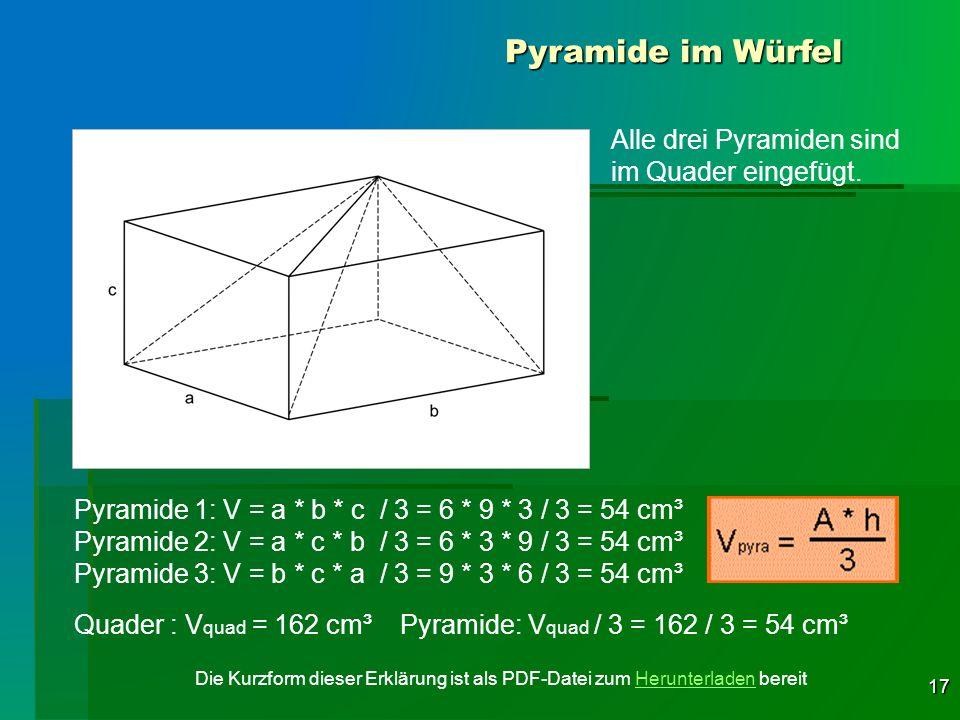 17 Pyramide im Würfel Alle drei Pyramiden sind im Quader eingefügt. Pyramide 1: V = a * b * c / 3 = 6 * 9 * 3 / 3 = 54 cm³ Pyramide 2: V = a * c * b /
