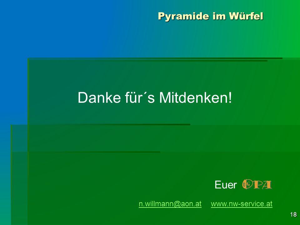 18 Danke für´s Mitdenken! n.willmann@aon.atn.willmann@aon.at www.nw-service.atwww.nw-service.at Euer Pyramide im Würfel