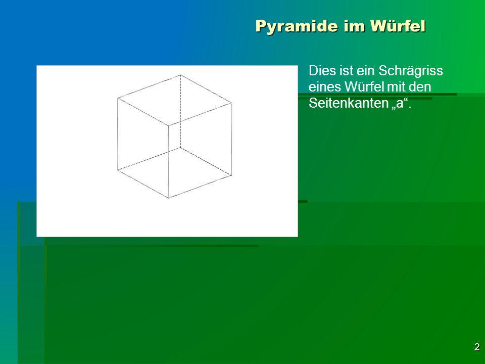 2 Pyramide im Würfel Dies ist ein Schrägriss eines Würfel mit den Seitenkanten a.