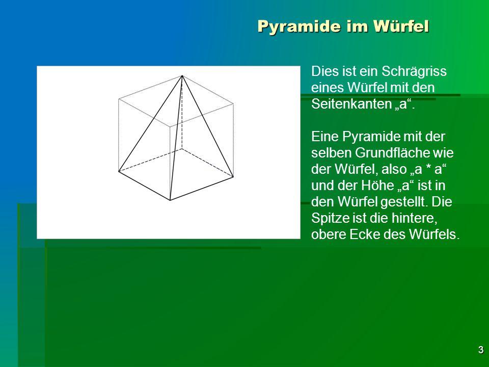 3 Pyramide im Würfel Dies ist ein Schrägriss eines Würfel mit den Seitenkanten a. Eine Pyramide mit der selben Grundfläche wie der Würfel, also a * a