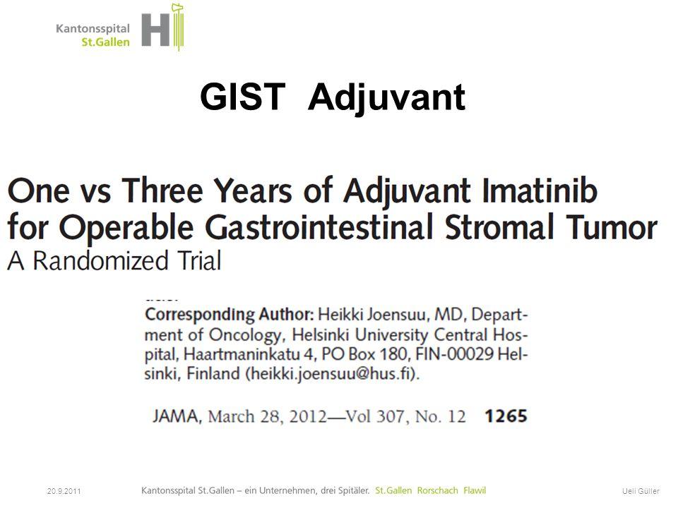 GIST Onkologische Therapie 20.9.2011Ueli Güller GIST Adjuvant