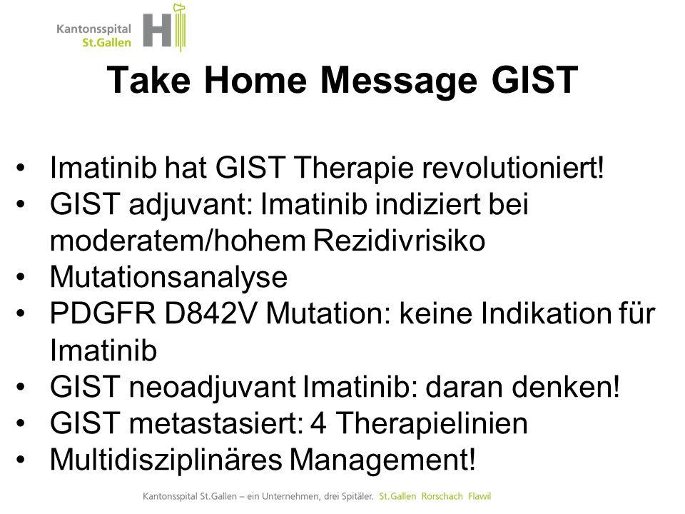 GIST Onkologische Therapie Imatinib hat GIST Therapie revolutioniert! GIST adjuvant: Imatinib indiziert bei moderatem/hohem Rezidivrisiko Mutationsana
