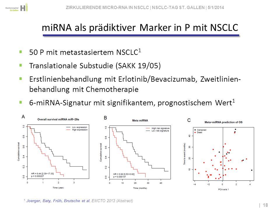 1 Joerger, Baty, Früh, Brutsche et al, EMCTO 2013 (Abstract) | 18 50 P mit metastasiertem NSCLC 1 Translationale Substudie (SAKK 19/05) Erstlinienbeha