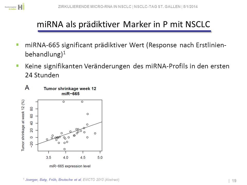 1 Joerger, Baty, Früh, Brutsche et al, EMCTO 2013 (Abstract) | 19 miRNA-665 significant prädiktiver Wert (Response nach Erstlinien- behandlung) 1 Kein